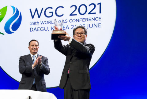 Former IGU President David Carroll hands over leadership to Joe M. Kang of South Korea at WGC 2018